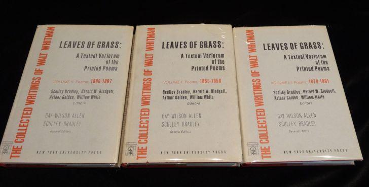 LEAVES OF GRASS A Testual Variorum of the Printed Poems (Three Vols.). Walt Whitman.