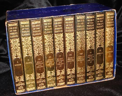 THE BEST OF THE WORLD'S CLASSICS (10 Volumes, Half Leather). Henry Cabot Lodge, -in-Chief.