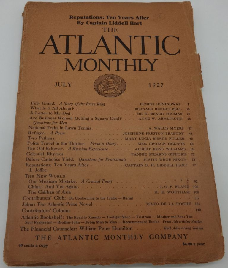 THE ATLANTIC MONTHLY July 1927: Hemingway; Fifty Grand.