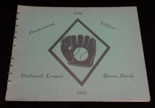 NATIONAL LEAGUE GREEN BOOK 1951 (75TH Anniversary Edition