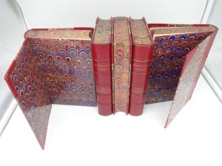 WORKS OF RALPH WALDO EMERSON (Five Leather Bound Volumes, complete)