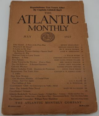 THE ATLANTIC MONTHLY July 1927: Hemingway; Fifty Grand